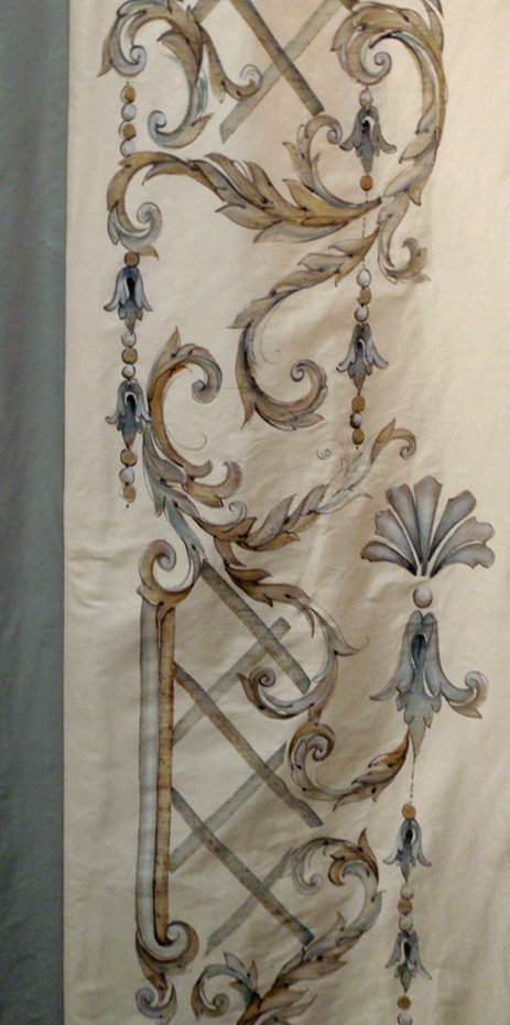 Curtains Ideas chinoiserie curtains : Bery Designs hand painted fabrics: CHINOISERIE TRELLIS