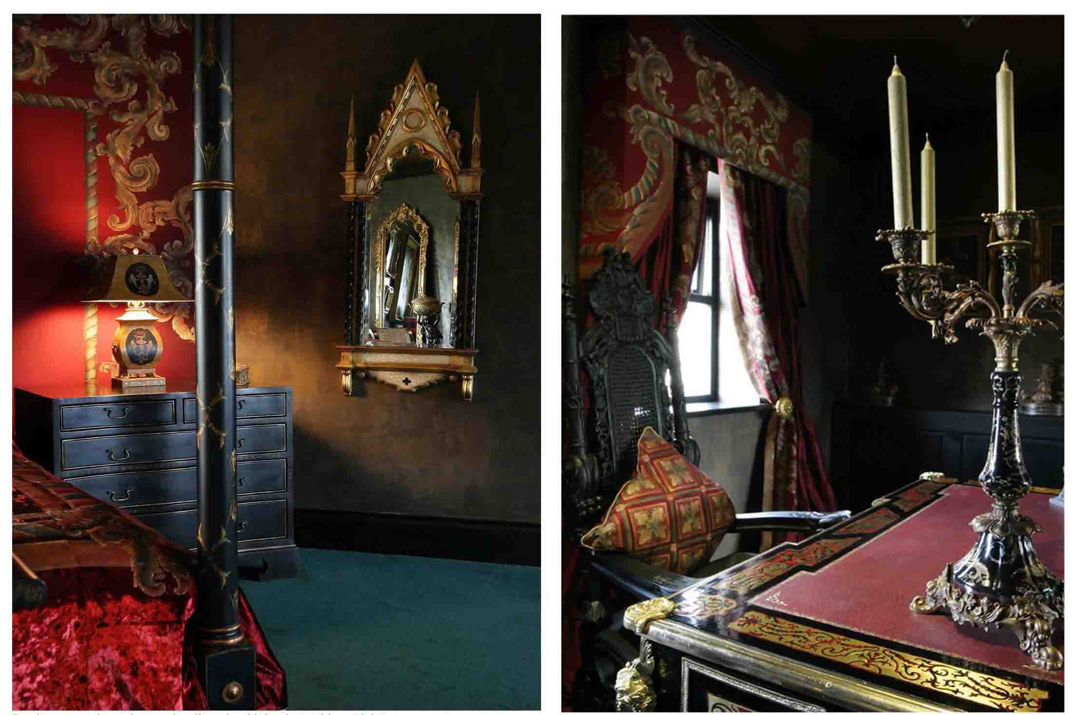 Bery Designs hand painted fabrics GOTHIC STYLE BEDROOM